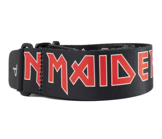"""2"""" Official Iron Maiden Logo Heat Transfer Design on Polyester Webbing Guitar Strap. Adjustable length 39"""" to 58"""""""