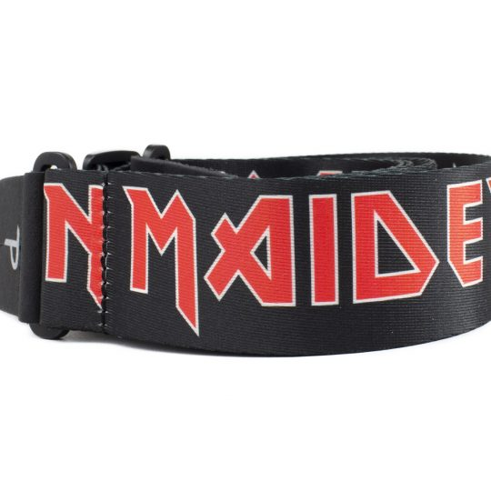 "2"" Official Iron Maiden Logo Heat Transfer Design on Polyester Webbing Guitar Strap. Adjustable length 39"" to 58"""