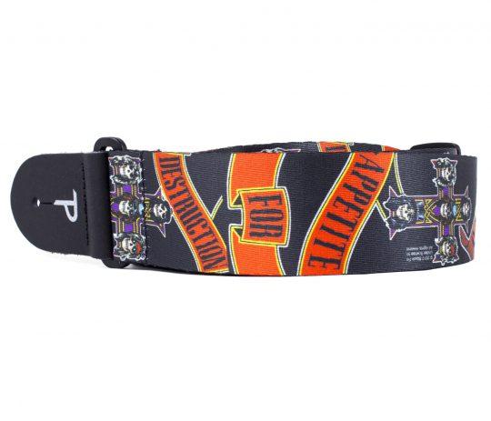 "2"" Official Guns N' Roses Appetite For Destruction Heat Transfer Design on Polyester Webbing Guitar Strap. Adjustable length 39"" to 58"""
