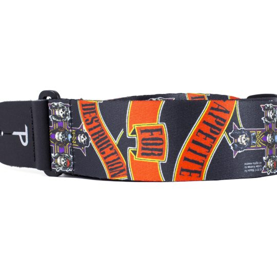 "2"" Official Guns N' Roses Appetite For Destruction Heat Transfer Design on Polyester Webbing Guitar Strap. Adjustable length 39"" to 58"""