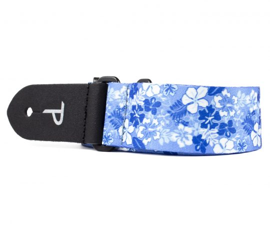 """1.5"""" wide Blue / White Luau Heat Transfer Design on Polyester Webbing and Genuine Leather Ends. Adjustable Length 23"""" to 38"""""""
