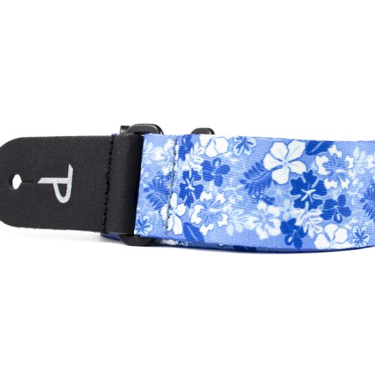 "1.5"" wide Blue / White Luau Heat Transfer Design on Polyester Webbing and Genuine Leather Ends. Adjustable Length 23"" to 38"""