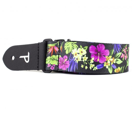 "1.5"" wide Multi Colored Luau Floral Heat Transfer Design on Polyester Webbing and Genuine Leather Ends. Adjustable Length 23"" to 38"""