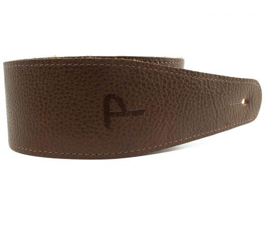 "2.5"" Brown Saddle Leather Guitar Strap. Adjustable Length 41"" to 56"""