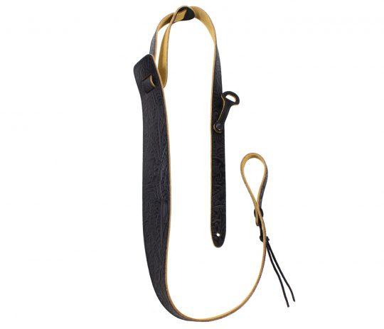 Black Embossed Leather Dobro Strap
