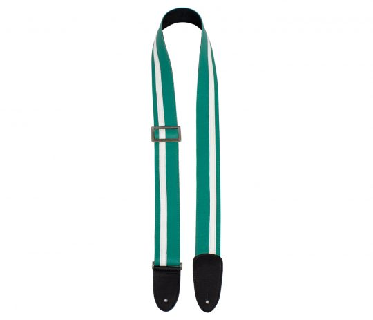 """2"""" Teal with White Racing Stripe Leather Guitar Strap with Triglide"""