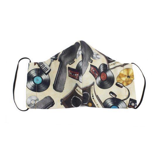 retro music gear pattern face mask