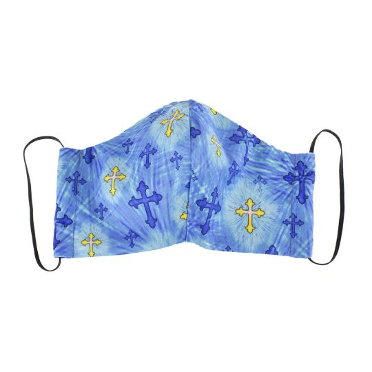 Tie dye crosses pattern medium sized washable face mask.
