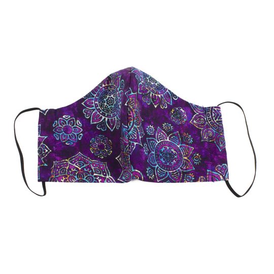 Violet paisley batik pattern large sized washable face mask.