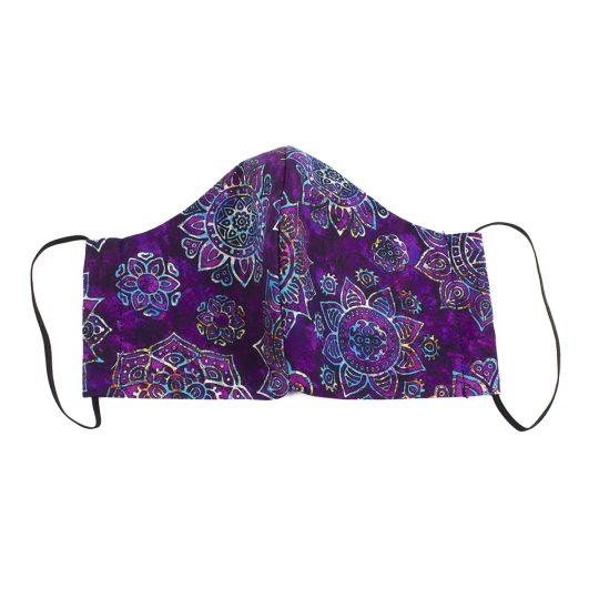 Violet paisley batik pattern large sized washable face mask.