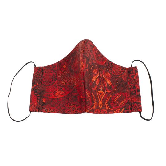 Red paisley batik pattern medium sized washable face mask.