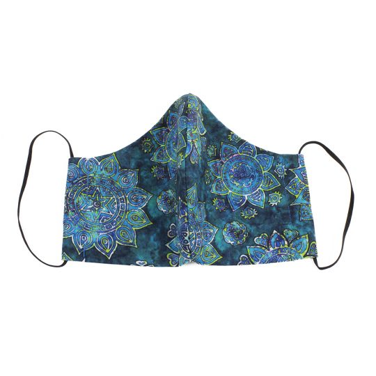 Teal paisley batik pattern large sized washable face mask.