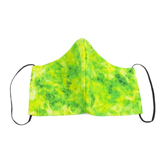 Chartreuse marble pattern washable face mask.