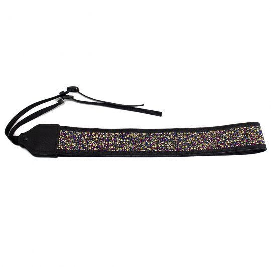 Multi-colour rhinestone jacquard camera strap.