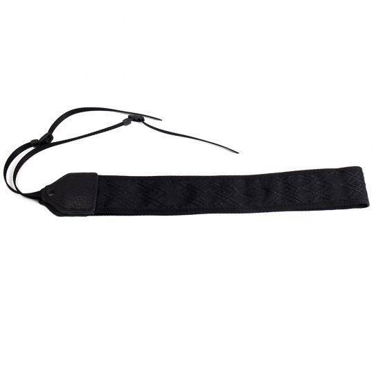 Black / black geometric jacquard camera strap.