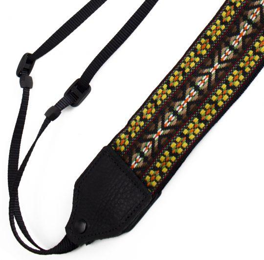 Yellow / brown hootenanny camera strap.