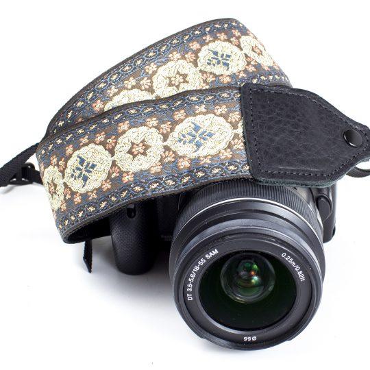 Shale / peach floral medallion jacquard camera strap.