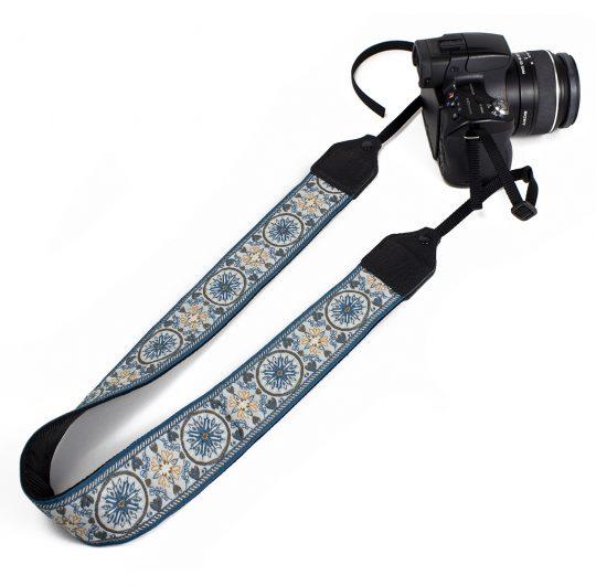Blue floral medallion jacquard camera strap.