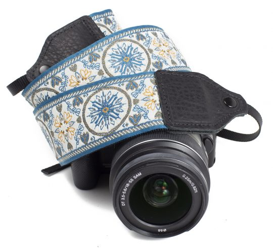 Blue floral medallion jacquard camera strap.