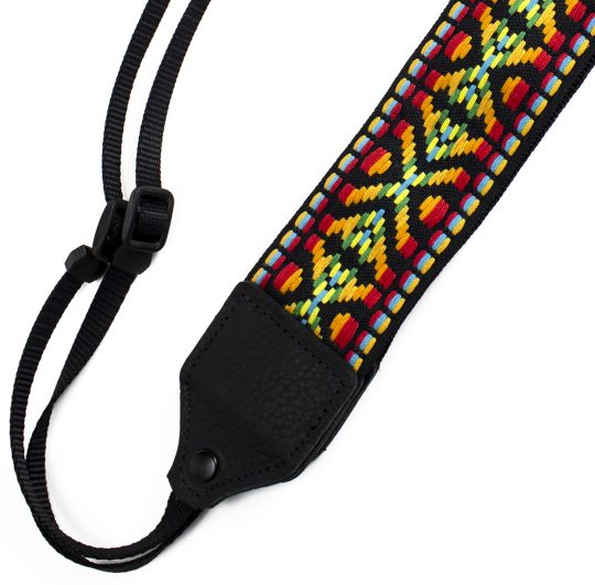 Yellow / red geo jacquard camera strap.