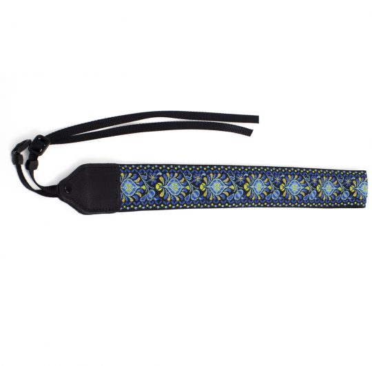 Blue medallion jacquard camera strap.