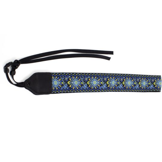 Blue medallion jacquard camera strap.