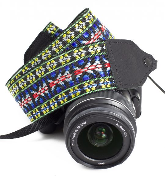 Blue / yellow hootenanny nylon camera strap.