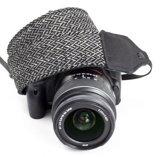 Gray tweed herringbone wool camera strap.
