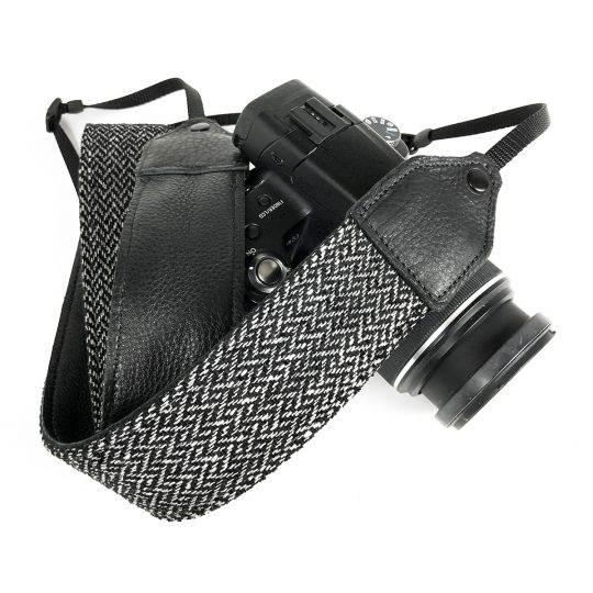 Gray tweed herringbone wool camera strap.