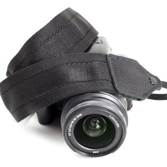 Black nylon camera strap.