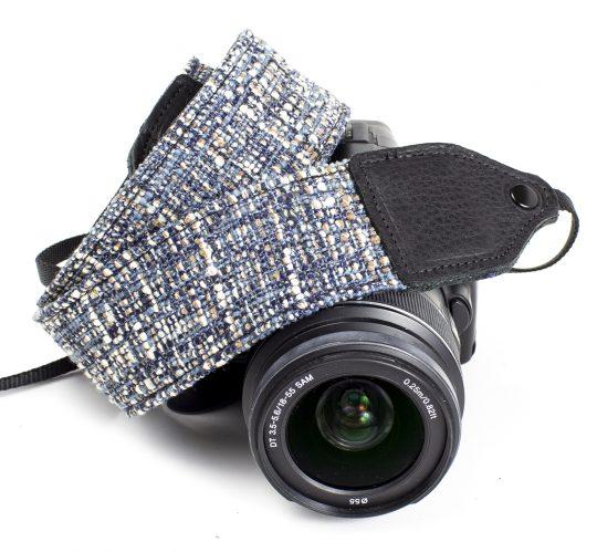 Blue tweed wool camera strap.