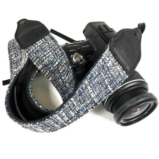 Blue tweed wool camera strap.