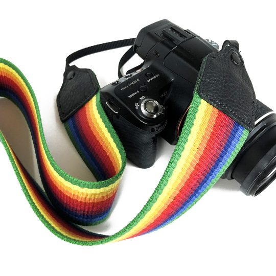 Rainbow stripe cotton camera strap.