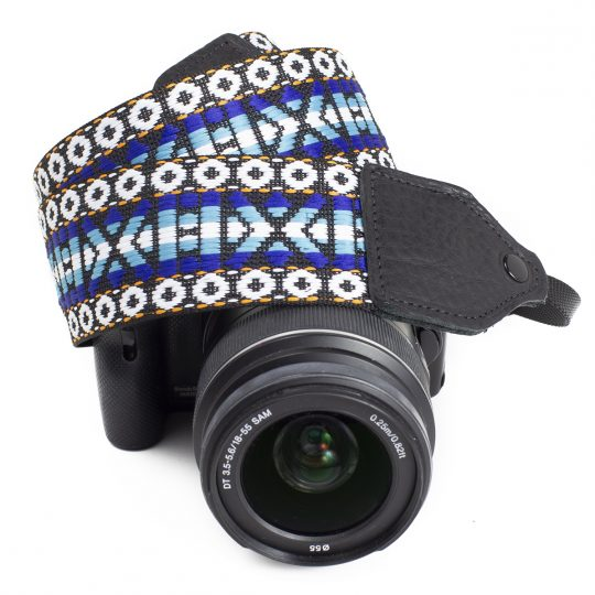 Blue / white geo hootenanny nylon camera strap.