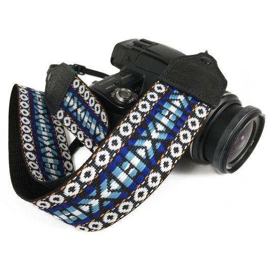 Blue / white geo hootenanny nylon camera strap.