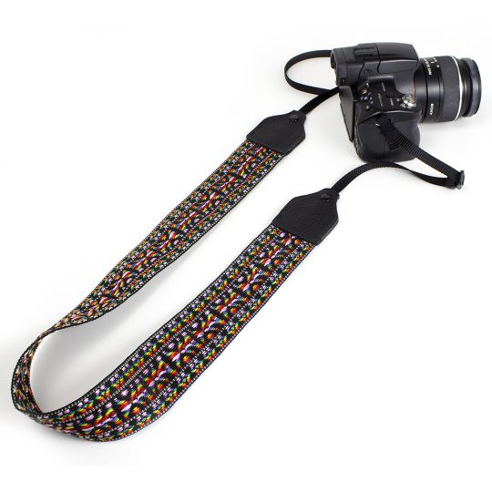 Pink / black hootenanny nylon camera strap.