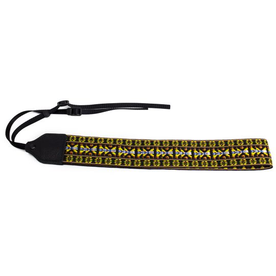 Yellow/ brown hootenanny nylon camera strap.