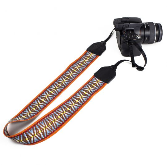 Orange / brown hootenanny nylon camera strap.