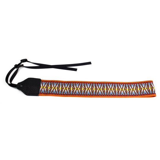 Orange / brown hootenanny nylon camera strap.