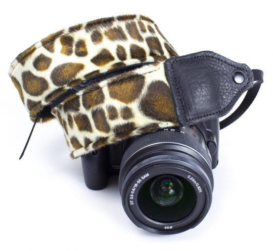 Brown animal print faux fur camera strap.
