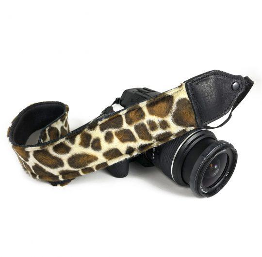 Giraffe Faux fur camera strap.