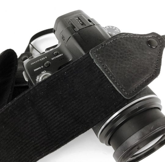 Black corduroy camera strap.
