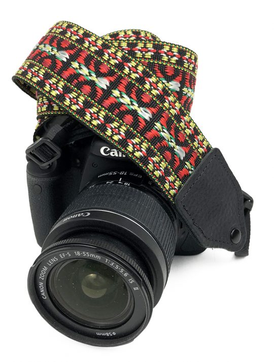 Red / yellow hootenanny nylon camera strap.