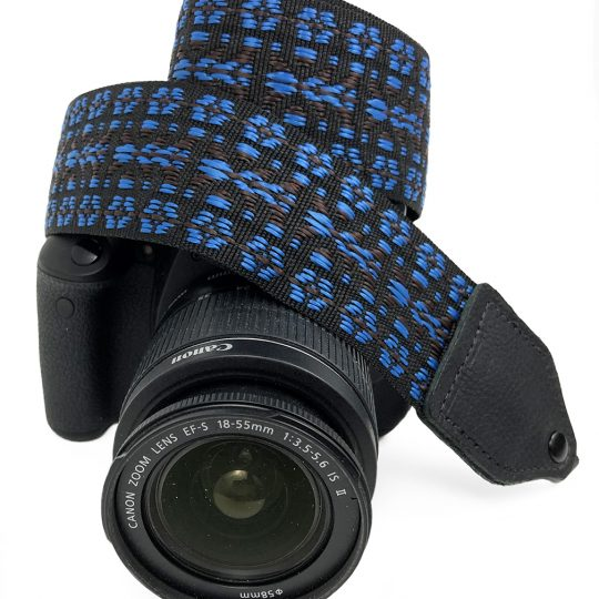 Blue / black hootenanny nylon camera strap.