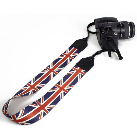 UK flag polyester camera strap.