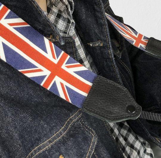 UK flag polyester camera strap.