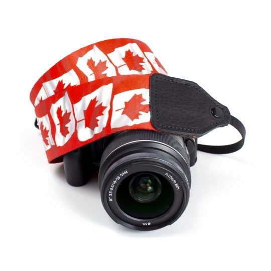 Canadian flag polyester camera strap.