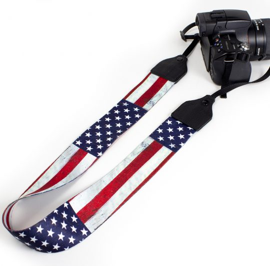 USA flag polyester camera strap.