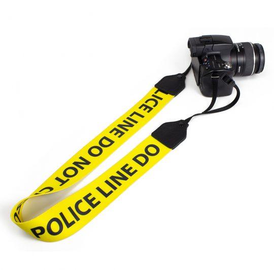 Police Line polyester camera strap.