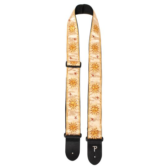 "2"" Gold Sun Pattern High Quality Jacquard Ribbon Guitar Strap. Sewn on Tubular Webbing With Leather Ends. Tri glide adjustable length from 39"" to 58"""